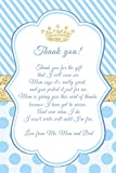 60 Prince Thank You Cards Blue Gold Personalized + 60 White Envelopes