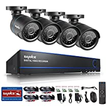 Sannce 16CH AHD 720P HD Security Camera System with 4x 720P 1.0MP Superior Night Vision CCTV Cameras (P2P Technology, Motion Detection & Alarm Push, Vandal and Weather-Proof Body)