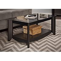 Rectangle Coffee Table Glass Top Made of Solid Wood in Black Finish
