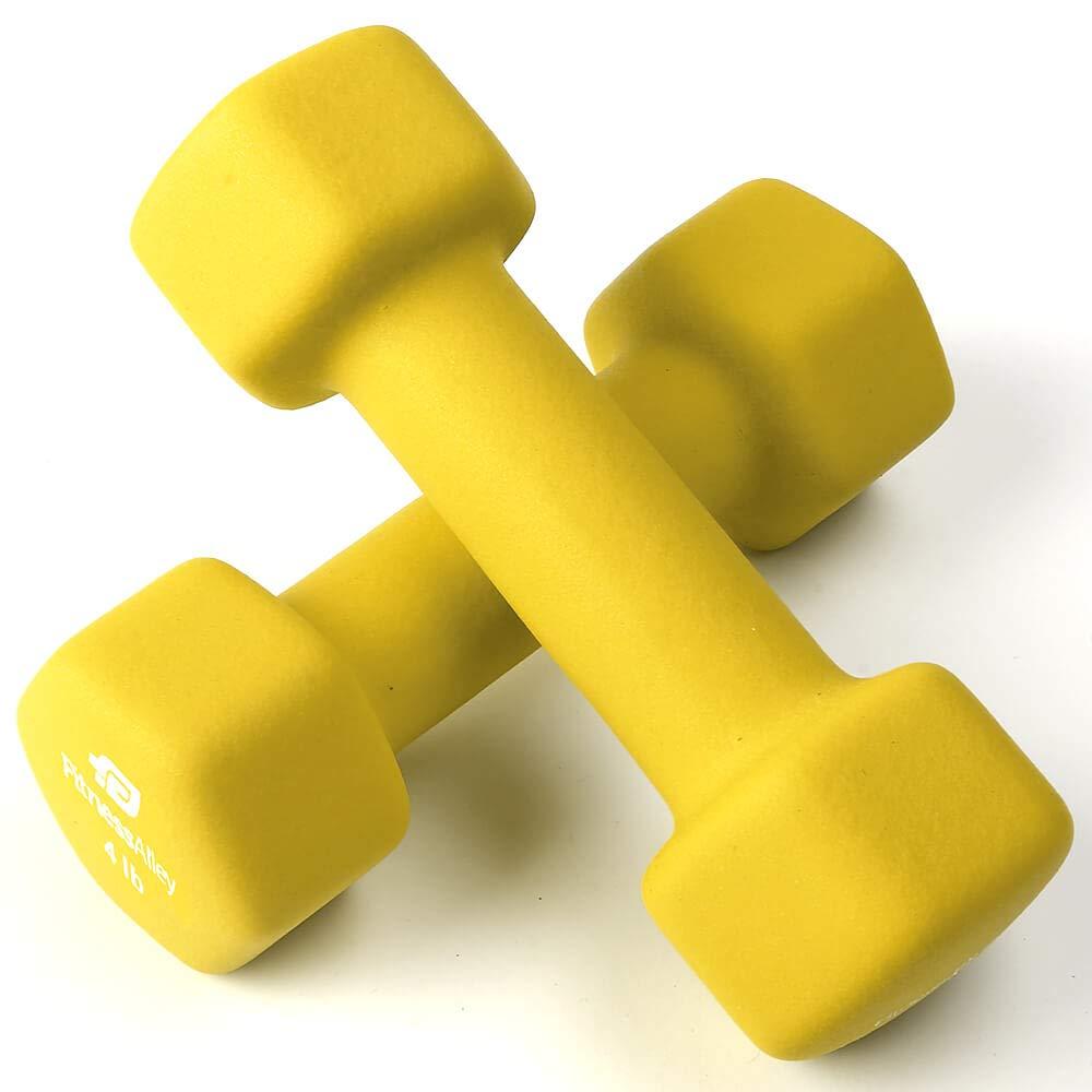 Fitness Alley 4lb Neoprene Dumbbell Set Coated for Non Slip Grip - Hex Dumbbells Weight Set - Hand weights set - Neoprene weight pairs - Hex Hand Weights - Set of two Neoprene Dumbbells, 4 lb - Yellow