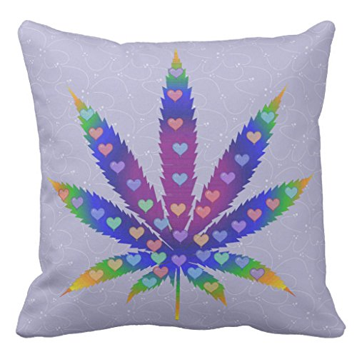 Zazzle Rainbow Hearts Marijuana Leaf Throw Pillow 20