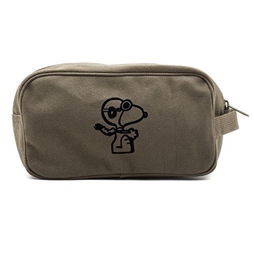 Snoopy Flying Ace Canvas Shower Kit Travel Toiletry Diaper Bag Case in Olive & Black (Ace Canvas)
