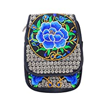 OHTOP Fashion Boho Ethnic Embroidery Canvas 2 Layers Messenger Crossbody Shoulder Bag