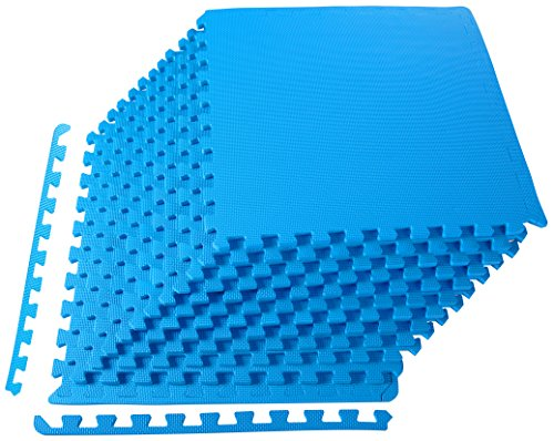 xercise Mat with EVA Foam Interlocking Tiles, Blue ()