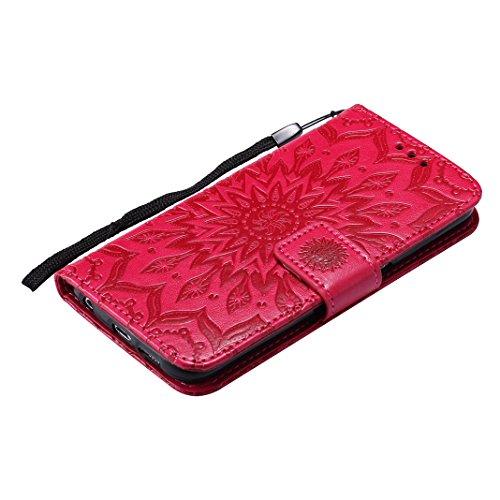 Tasche für Galaxy S6, Handyhülle Galaxy S6 Leder Hülle Asnlove Premium Ledertasche im Ständer Book Case Brieftasche Flip Case Cover Schutzhülle mit Kartenfach Magnetverschluss und Standfunktion Unters red