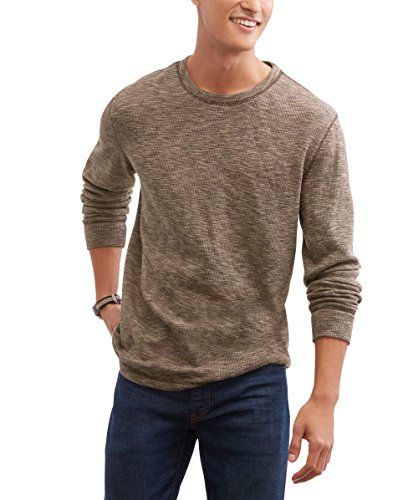 Glory Mens Shirt (Faded Glory Men's Long Sleeve Waffle Knit Thermal Crew Top / Shirt (Brown Space Dye, M))