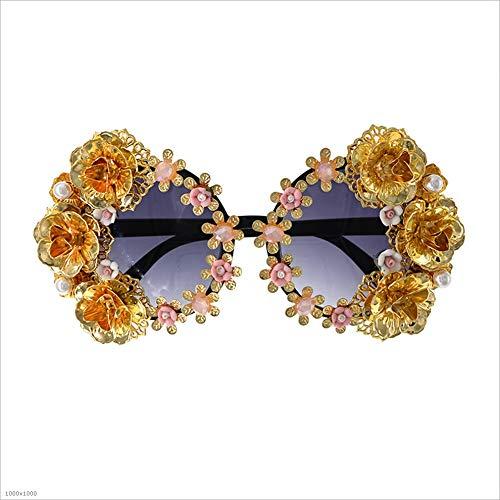 Retro de Pesca Polarized Vintage Eyewear Mujeres Mano Sunglasses a de Golden Flower Vacaciones Las Driving Baroque para Bar Hecho Metal Beach UnUFxqfwO