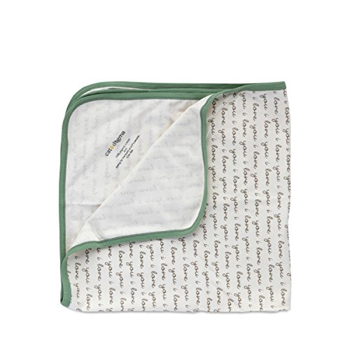 Cat & Dogma 100% Organic Cotton Swaddling Newborn Baby Blanket (I Love You/Sage)