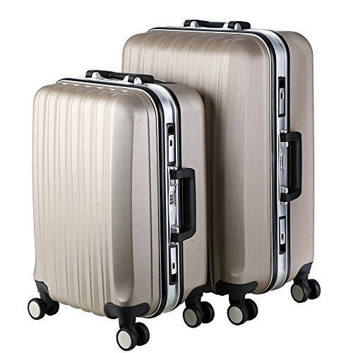 Lightweight Luggage Sets Glossy Trolley Case Suitcase Sets Hard Slide Spinner Expandable Luggage Bag for Travel and Business (20'', 24'') TSA, Gold by WELOVE (Image #2)