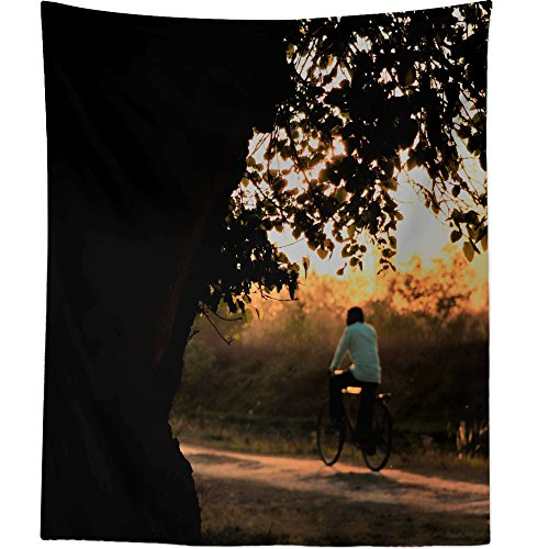 Westlake Art - Sunset Tree - Wall Hanging Tapestry - Picture Photography Artwork Home Decor Living Room - 68x80 Inch (16ED1) - Sunlight Villager