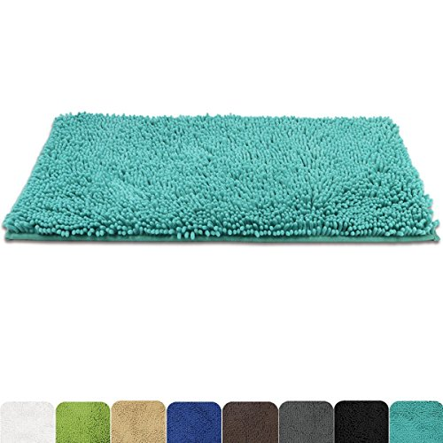 MAYSHINE 31x59 inch Absorbent Microfiber Quick Drying Chenille Shaggy Machine washable Dog Runner Doormats and bed mat   Turquoise