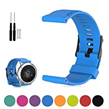 For Suunto Core Quartz Watch with Black Dial Replacement Band - Feskio Adjustable Soft Silicone Replacement Wrist Watch Strap with Screwdriver for Suunto Core Unisex Outdoor Stainless Steel Watch