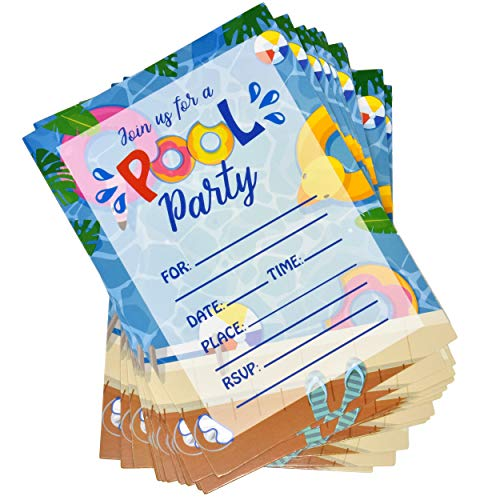36 Pool Party Invitations with Envelopes Swim Birthday Invite Cards Kids Splish Splash Water Swimming Party Invitation for Girl Boy Summer Bash Barbecue Beach Luau Tropical Supplies Gift Boutique