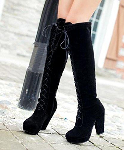 CHFSO Womens Stylish Waterproof Fully Fur Lace Up Chunky High Heel Platform Above The Knee Winter Boots Black f2w2gYi