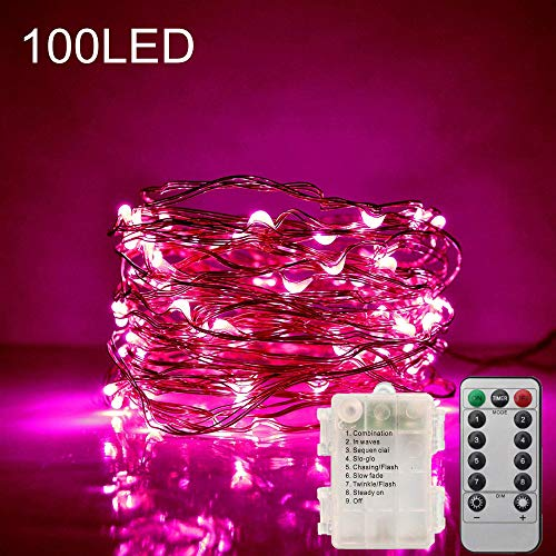 XDlight 33FT 100 LED Pink Copper Wire Fairy Lights,Battery Operated 8 Flashing Modes LED String Lights with Remote Control and Timer for Christmas Wedding Party Home Holiday Decoration(Pink)