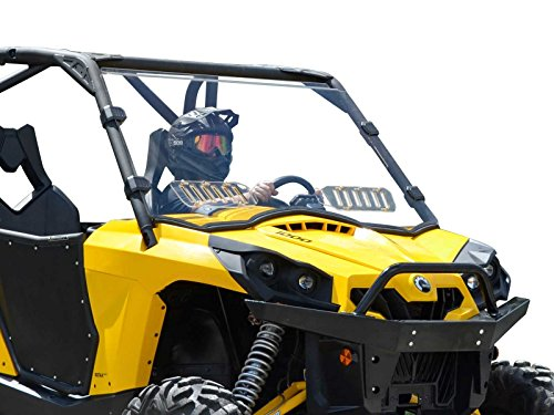 (SuperATV Heavy Duty Scratch Resistant Vented Full Windshield for Can-Am Commander 800/1000 / MAX (2011+) - Hard Coated On Both Sides!)