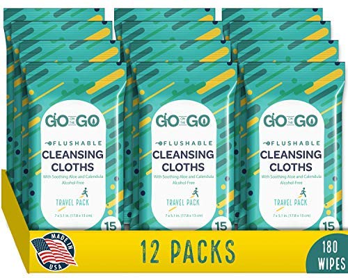 Go Travel Body - Flushable Wet Wipes for Travel by Go on the Go - Biodegradable, Alcohol-Free, with Soothing Aloe and Calendula, 12 packs of 15 count Each (180 Wipes Total)