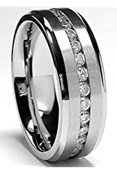7MM Men's Eternity Titanium Ring Wedding Band with CZ sizes 5to 13