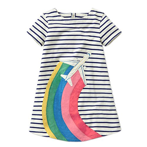 Striped Airplane (Little Girls Animal Print Cotton Summer Short Sleeve Tunic Dress With Striped Pocket (6T, Airplane))