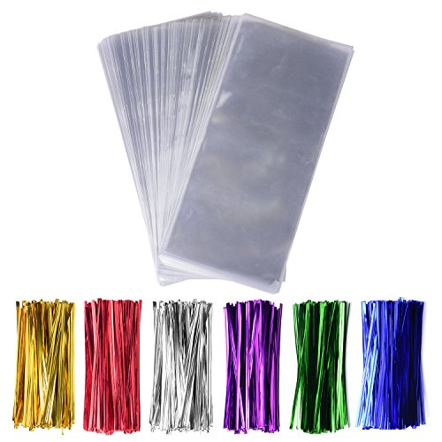 200 Pack 5'' x 11'' Clear Cello Treat Bags 1.4mil OPP Plastic Bags with 6 Mix Colors Twist Ties Good for Wedding Cookie Gift Candy Bakery Supply Valentine Chocolates (5'' x 11'') by Sannigora