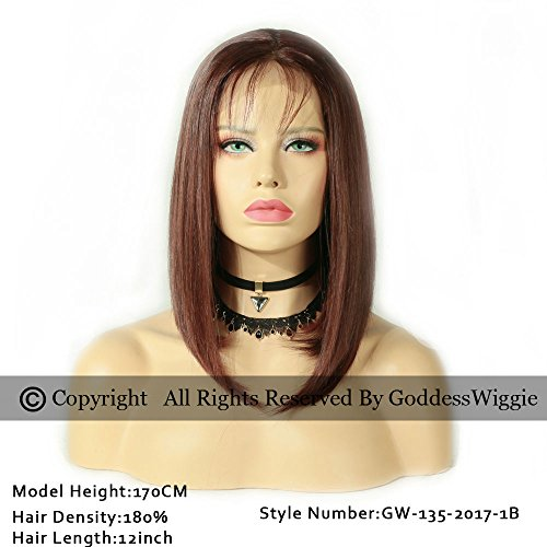 150%Density Lace Front Wigs Bob Ombre Human Hair Wig Glueless Wig With Baby Hair For Women (14inch 150%) by Goddess