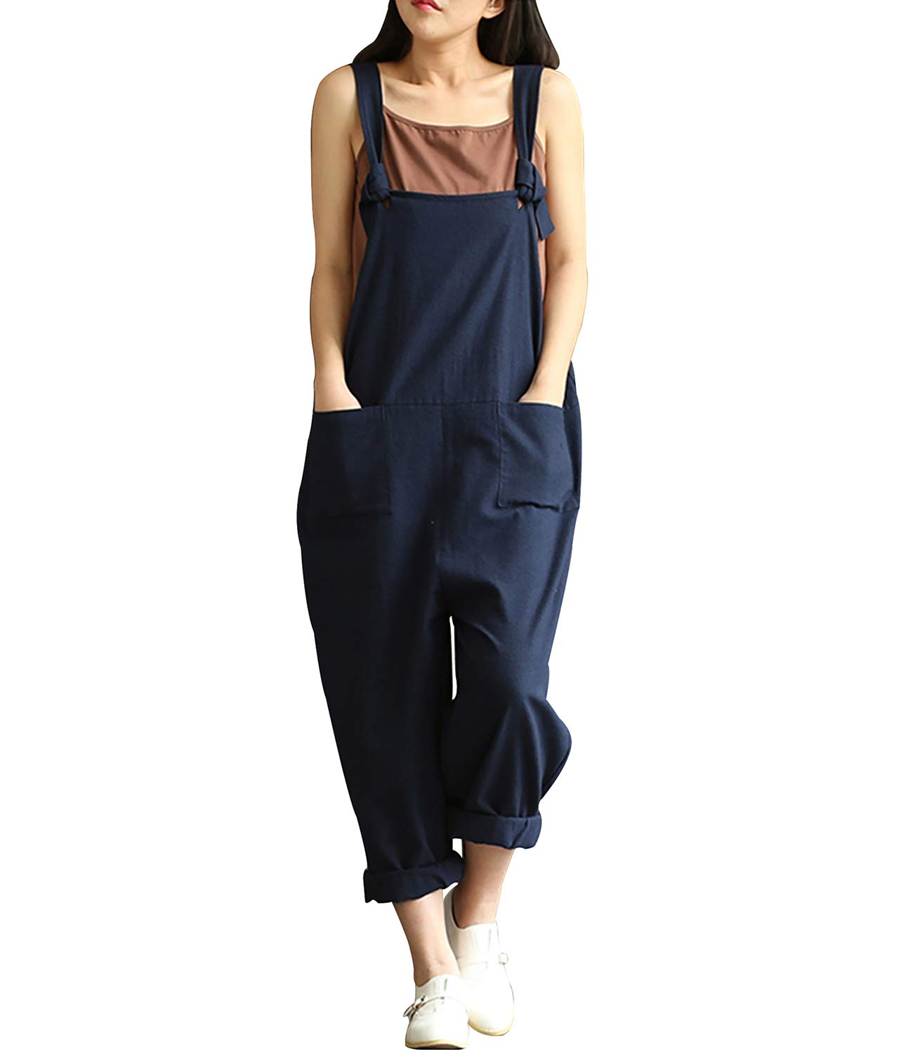 Lncropo Women Large Plus Size Baggy Linen Overalls Casual Wide Leg Pants Sleeveless Rompers Jumpsuit Vintage Haren Overalls (S, Blue)