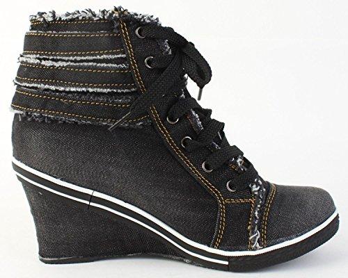 Vovoshoes Lz2801 Scarpe Da Donna Con Zeppa In Tela Di Jeans Con Zeppa Nere
