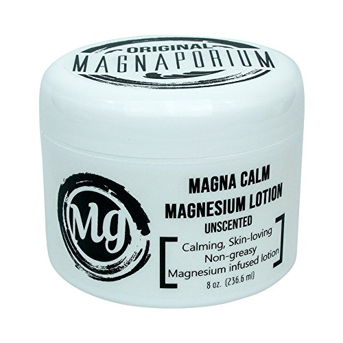Magnesium Lotion Unscented 8 oz Magna Calm - Now with all Organic Oils Including Hemp! - Over 275 mg/tsp of Zechstein Seabed Magnesium Minerals (Unscented)