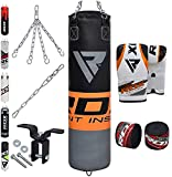 RDX Punching Bag Filled MMA Boxing Training Heavy Punch Gloves Ceiling Hook Chain Muay Thai Kickboxing Martial Arts 4FT, 5FT Set