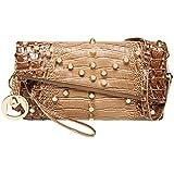 MG Collection DENA Union Jack Studded Flap Satchel Handbag Clutch Purse - Brown