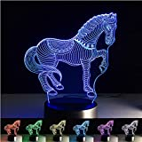 ChiMoon 3d Illusion Lamp, Horse Night Light 7 Colors Light Desk Table Lamp,3D Optical Illusion Night Light with Acrylic Flat & ABS Base & USB Charger