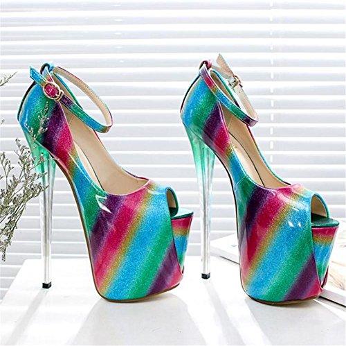 et xie Des sandales nbsp;Pompes club Plate Chaussures aiguille à pour 41 soirée forme 35 Taille Talon femmes Fête EU41 Multicolore xrPrYq7pn