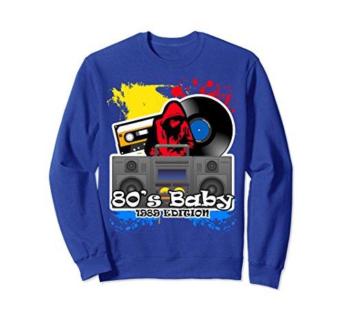 Baby Adult Sweatshirt - Unisex 80's Baby Retro Hip Hop Sweatshirt Medium Royal Blue