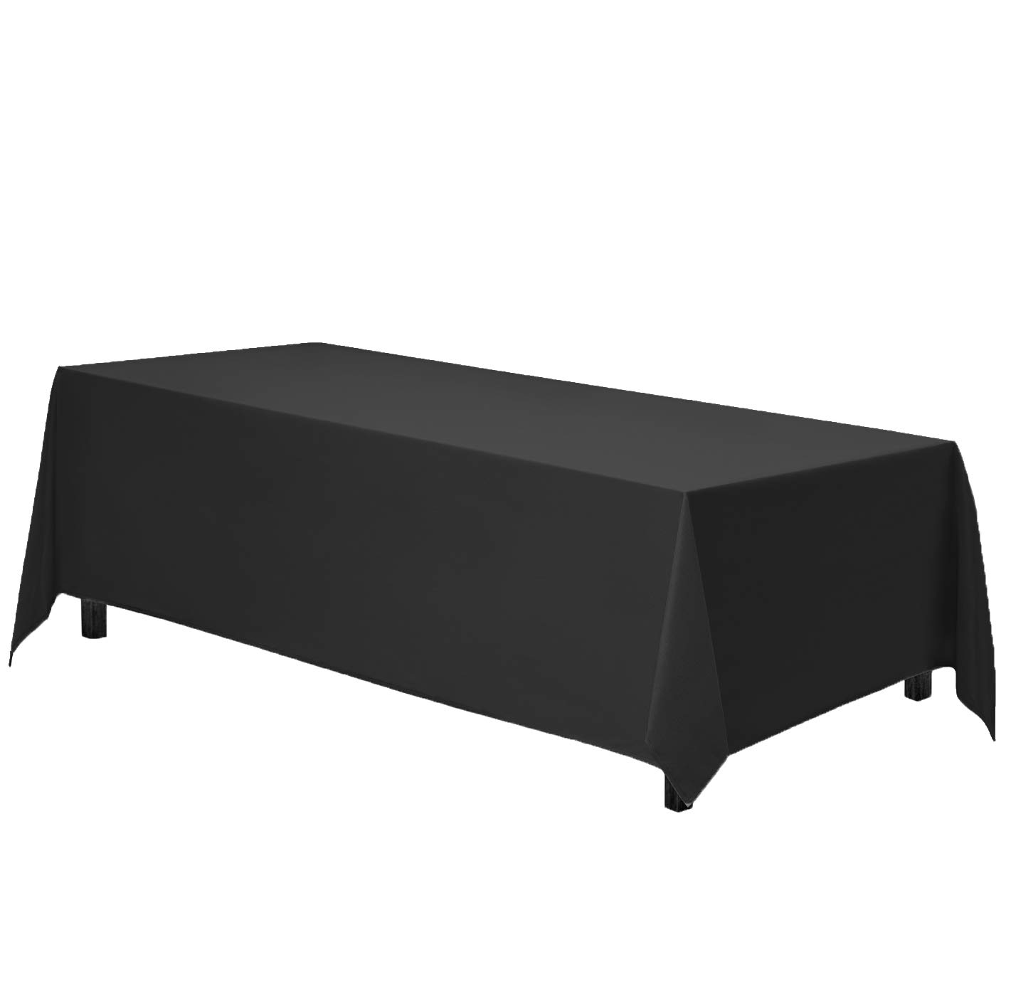 Gee Di Moda Rectangle Tablecloth - 90 x 132'' Inch - Black Rectangular Table Cloth for 6 Foot Table in Washable Polyester - Great for Buffet Table, Parties, Holiday Dinner, Wedding & More by Gee Di Moda