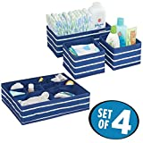 Crib with Drawers and Changing Table mDesign Soft Fabric Dresser Drawer and Closet Storage Organizer Set for Child/Kids Room, Nursery - Includes Large and Small Organizers - Striped Pattern, Set of 4, NavyBlue/White