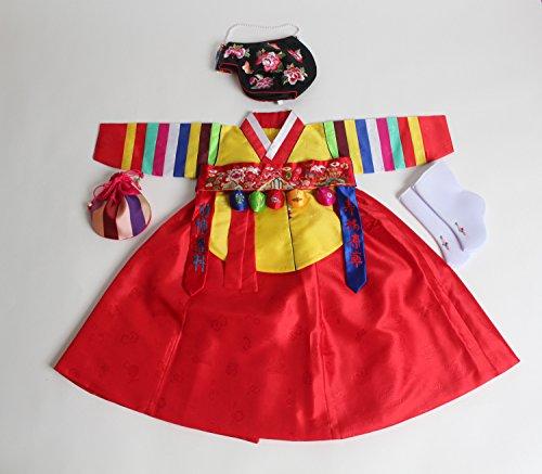 Korean hanbok girls baby's traditional DOLBOK costumes dr...