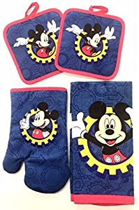 Mickey Mouse Clubhouse 4pc Kitchen Set with Two Pot Holders, Oven Mitt and Kitchen Towel