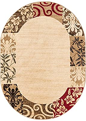 "Well Woven Barclay Vane Willow Damask Beige Modern Area Rug 6'7"" X 9'6"" Oval"