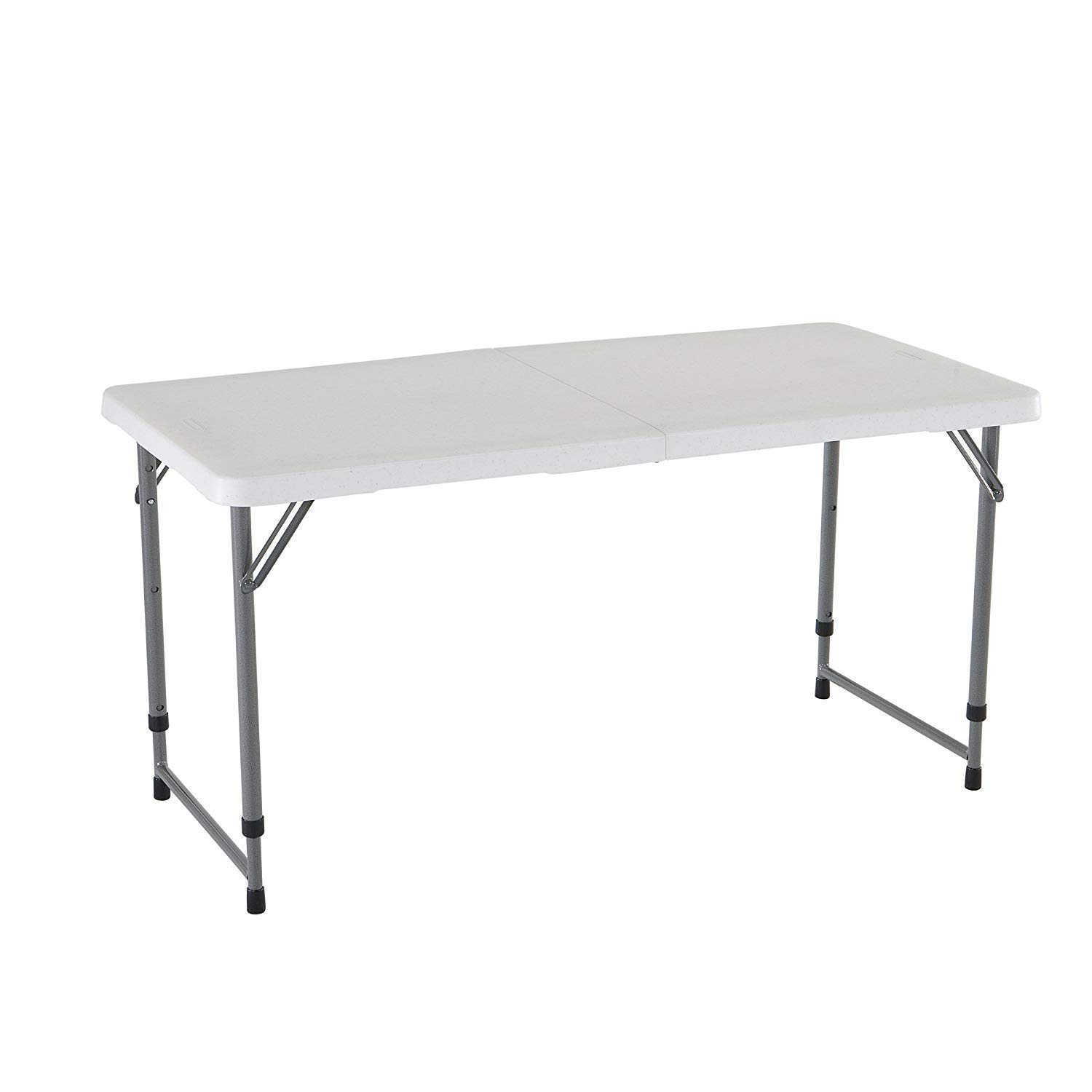 Lifetime 4428 Height Adjustable Craft, Camping and Utility Folding Table, 4 ft White, 3 Pack