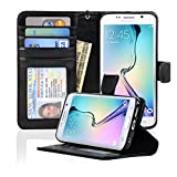 Samsung Galaxy S6 Edge Wallet Folio Leather Case with Four Card Pockets & Money Slot, Removable Strap - Navor (Black)