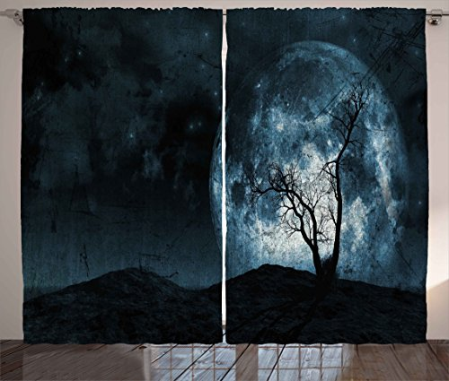 Ambesonne Fantasy Curtains, Night Moon Sky with Tree Silhouette Gothic Halloween Colors Scary Artsy Background, Living Room Bedroom Window Drapes 2 Panel Set, 108W X 96L inches, Slate Blue