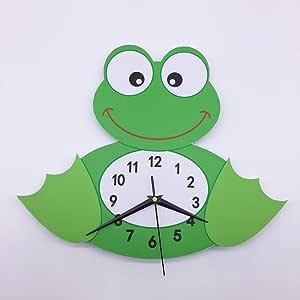 Cute cartoon 3D frog clock decorative wall sticker