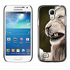Be Good Phone Accessory // Dura Cáscara cubierta Protectora Caso Carcasa Funda de Protección para Samsung Galaxy S4 Mini i9190 MINI VERSION! // Roar Angry Big Cat Lion Nature White
