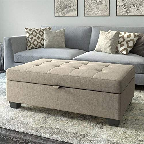 CorLiving LAD-164-O Antonio Button Tufted Storage Ottoman Bench in Beige Fabric