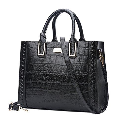 ZXCB Diseñador De La Moda De Las Mujeres Tote Casual Retro Messenger Bag Faux Leather Shoulder Bag Purse Black