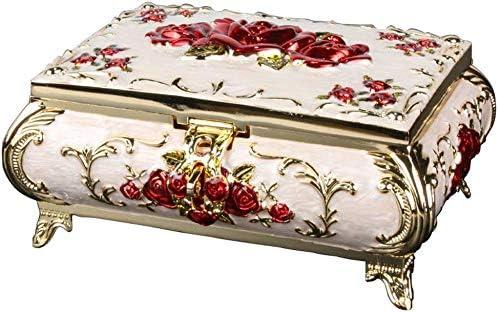 HESNHHAN Metal Vintage Jewellery Trinket Box Almacenamiento de Caja para Mujeres Joyas Pendientes Anillo Collar,01: Amazon.es: Hogar