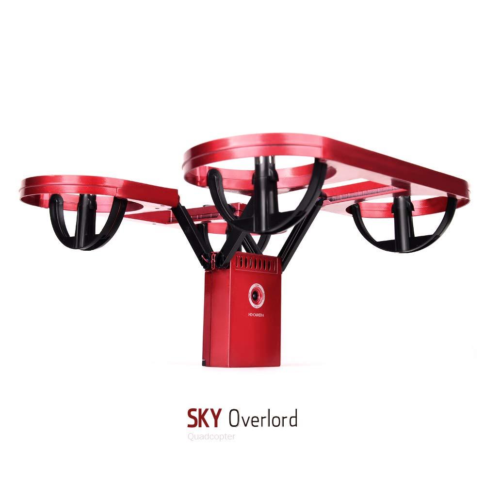 CLCYL Drone RC Veicolo Aereo Senza Equipaggio, 200W Fotocamera FPV Immagine Trasmissione WiFi Funzionamento Pieghevole Funzione One-Touch autoScatto Funzione,Red