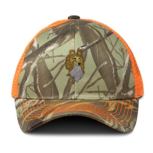 (Camo Mesh Trucker Hat Shetland Sheepdog Head Embroidery Cotton Neon Hunting Baseball Cap Strap Closure One Size Orange Camo Design Only)