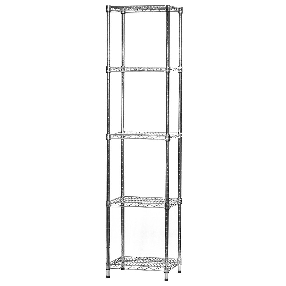 14'' d x 18'' w x 54'' h Chrome Wire Shelving with 5 Shelves