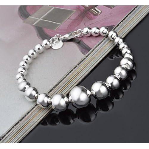 Cdet Pulsera de Perlas de la Arena de la Serpiente de la Flor del Coche Joyer/ía Femenina Plata Plateada Exquisita Moda Regalo Plata Fina